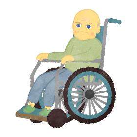 車いすに座っているおじいさん 白人バージョン