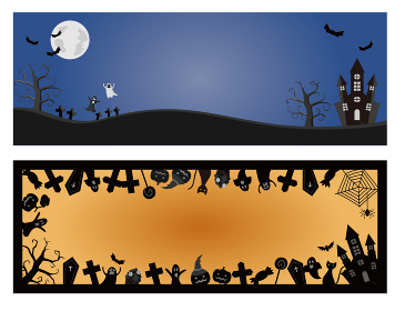 2種類のハロウィーン用背景イラスト