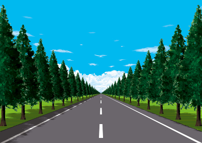 平野の真っ直ぐな並木道