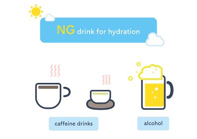 夏の水分補給に適さない飲み物のイラスト