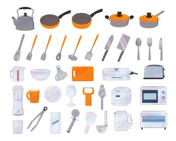 キッチン用品イラスト素材 / アナログ風