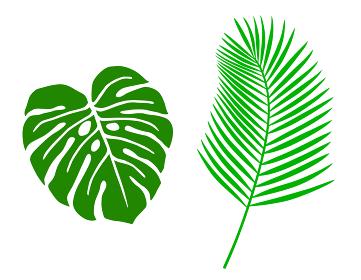 熱帯植物の葉 イラストアイコンセット