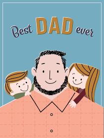 父の日向け背景素材。若いお父さんと小さな男の子、女の子のイラスト。