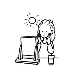 日焼け止めを塗る女性の線画イラスト