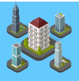 Isometric Building Set Isolated. Isometric building set isolated design flat style. 3d modern house building with helipad or business offices isolated on a blue background. Templates for building web design. Vector illustration