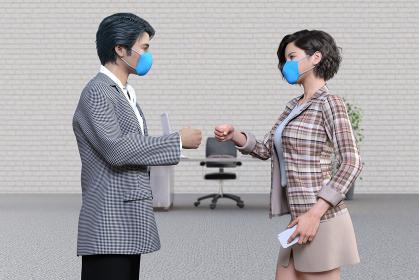 逆境に負けず立ち向かう青いマスクをしたビジネスパートナーの男女が拳を向け合う