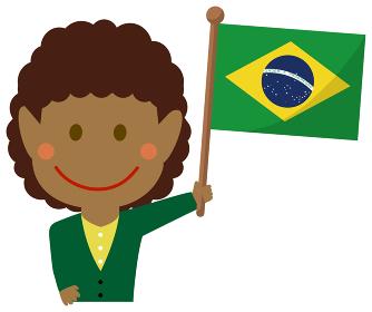 人種と国旗 / ビジネスマン・会社員 女性 上半身イラスト/ ブラジル