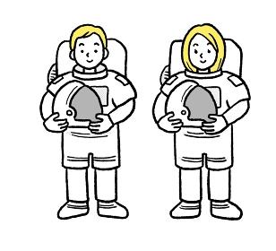 宇宙飛行士の男女のイラストセット