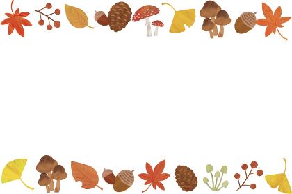 秋 白 上下 枠 フレーム イラスト パターン 紅葉 イチョウ どんぐり 松ぼっくり きのこ 葉っぱ