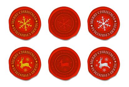シーリングワックス(封蝋) イラストセット / クリスマス・冬のイメージ (トナカイ・雪の結晶)