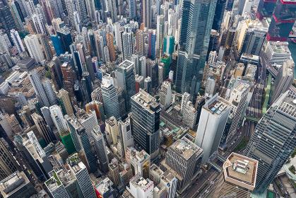 Central, Hong Kong 01 November 2018:- Top view of Hong Kong business district