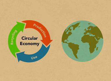 循環経済の図形と地球 クラフトテクスチャ
