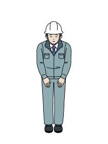 お辞儀をする 作業着を着た男性 現場監督 工事中 全身 イラスト素材