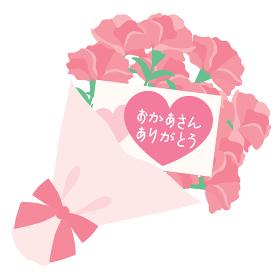 母の日のピンクのカーネーションの花束とカード