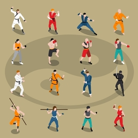 Martial Arts Isometric People Set. Isometric set of people doing different eastern and european martial arts isolated on background with yin yang vector illustration