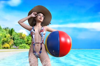 ビーチボールを持った麦わら帽子をかぶった水着の女性が綺麗な青い南国の海に入る