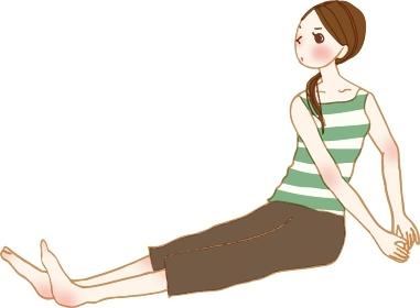 ストレッチをする若い女性。