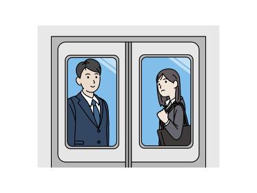 電車に乗るスーツ姿の男女 乗客 社会人 会社員 通勤 移動 帰宅 イラスト素材