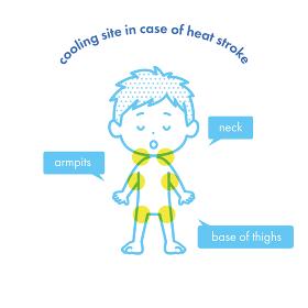 熱中症が疑われる時の冷却部位のイラスト