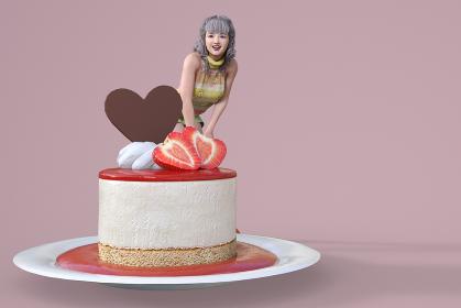 美味しそうなストロベリームースケーキにハート型の苺のそばに座る可愛い笑顔の女性