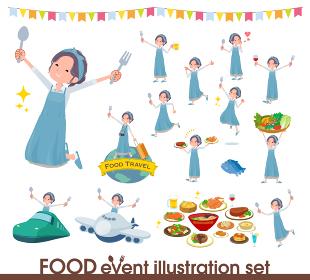 食のイベントに関するお洒落なママ女性のセット