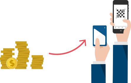 DX、物理的通貨からデジタル通貨への変化イメージ