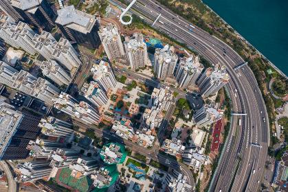 Tai Koo, Hong Kong 19 March 2019: Hong Kong city from top