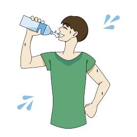 水分補給 ペットボトル 汗だく 男性