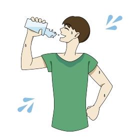 水分補給 コップ 汗だく 男性