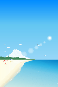 夏のビーチと青い海の風景イラスト 背景素材 縦