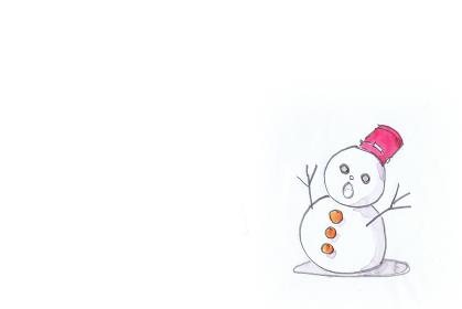雪だるまの鉛筆と水彩のイラスト