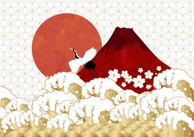初日の出と赤富士と海:年賀状素材