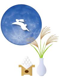 十五夜の満月と月見の飾り