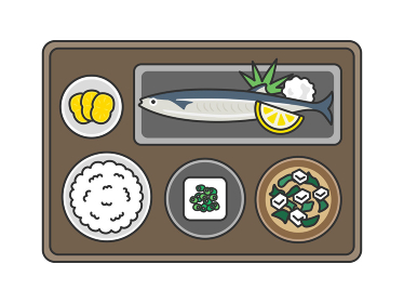 秋刀魚定食のイラスト