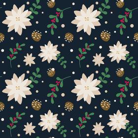 冬の花柄シームレスパターン