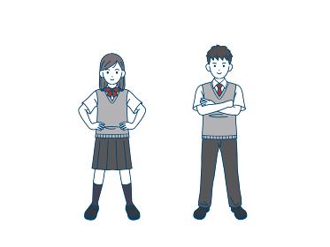 堂々と自信に満ち溢れた学生 仁王立ち 中高生 高校生 中学生 男女 全身 イラスト素材