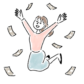 ジャンプ 喜ぶ 女性 お金 水彩 手描き