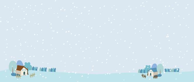 雪が降る田舎の冬の風景イラスト