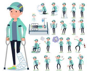 flat type man Blue green Sportswear_sickness