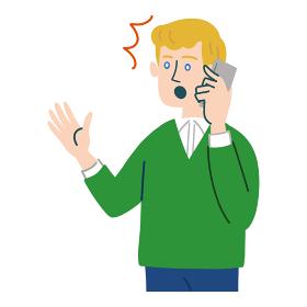 男性 外国人 ブロンド 携帯電話 スマホ 驚いている
