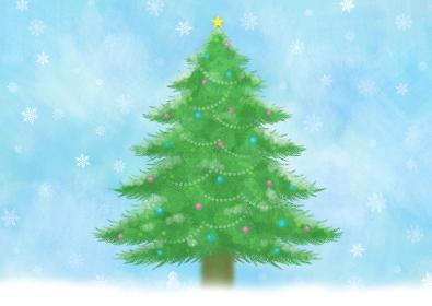 雪の降る中に佇む雪だるまとクリスマスツリー。パステル風