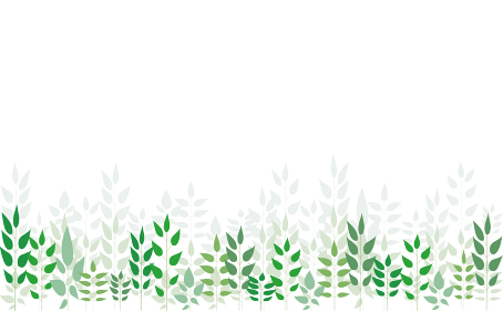 いろいろな緑の葉っぱを下部に並べた背景イラスト