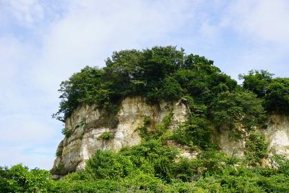 花淵浜の地層断面、宮城県七ヶ浜町