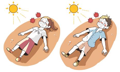 熱中症と新型コロナウイルスで倒れる 屋外