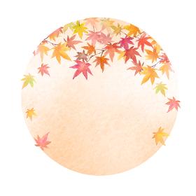もみじの円型背景 水彩イラスト