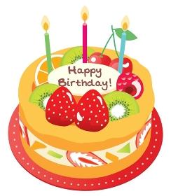 オレンジ色のお誕生日のフルーツケーキ