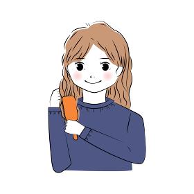 髪の毛をブラシでとかすロングヘアの女性のイラスト(上半身)