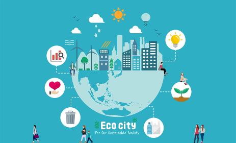 エコ・エコロジー・自然・環境保護に配慮した都市生活イメージ バナーイラスト