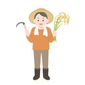 農家 農夫のイラスト 稲穂の収穫