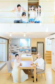 住宅の1Fと2Fに並ぶ3世代ファミリー